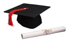 A picture of a mortarboard hat and dipolma.