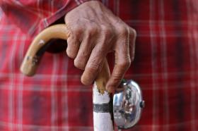 Elderly senior citizen hand on cane