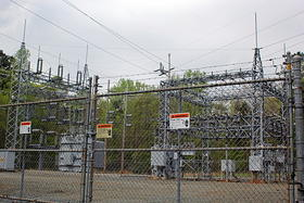 An electrical power substation in Orange County.