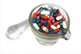 Prescription drugs at a pharmacy.