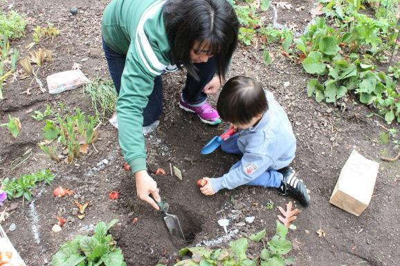 mother and son planting