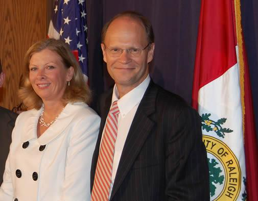 Raleigh Mayor Charles Meeker and Mayor-elect Nancy McFarlane