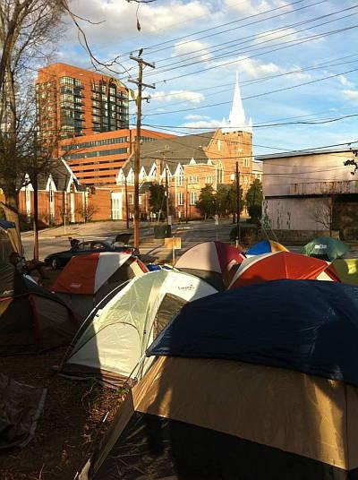 The new Occupy Raleigh encampment