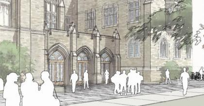 An architect's rendition of the entrance plaza to the renovated Rare Book, Manuscript, and Special Collections Library.
