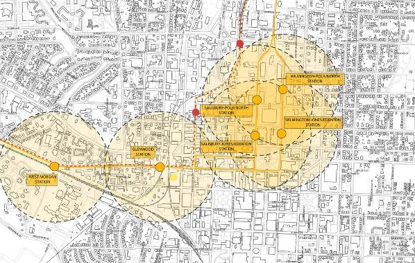 Raleigh's plan in dark yellow with proposed stations, two of TTA's options in dotted red and light yellow lines