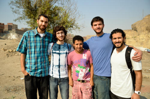 From left to right: Kane Smego, Mohammad Moussa, an Egyptian citizen named Moussa, Will McInerney, photographer Sameer Abdel-khalek