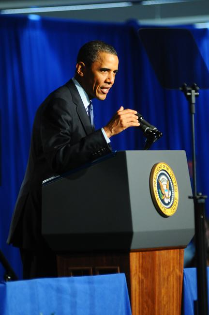 President Obama speaks at Cree Inc. in Durham