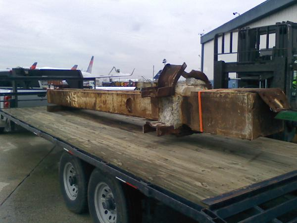 A piece of the WTC on its way to Chatham County