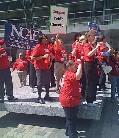 Teachers protesting