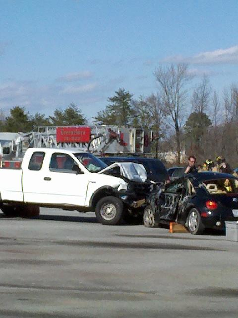 This scene included a staged wreck, first responders, the Jaws of Life and students acting as victims.
