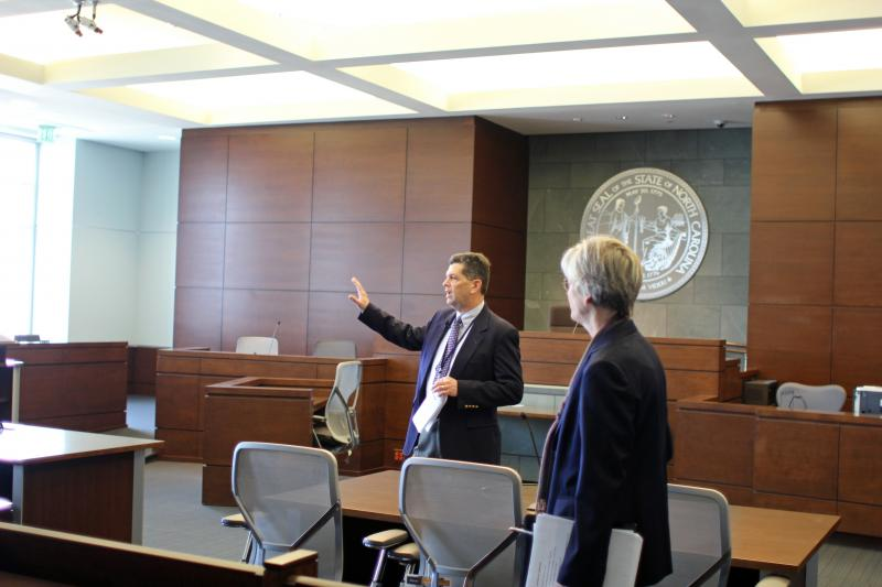 County Engineer Glehn Whisler and Chief District Court Judge Marcia Morey talk about new features in the courtrooms