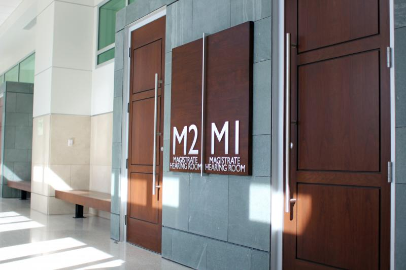 Magistrate judges have their own hearing rooms for cases in the new building.