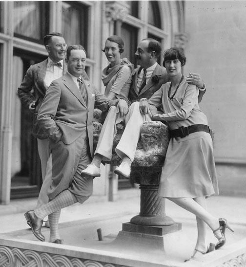 John and Cornelia Vanderbilt Cecil with friends, 1925, in front of Biltmore House