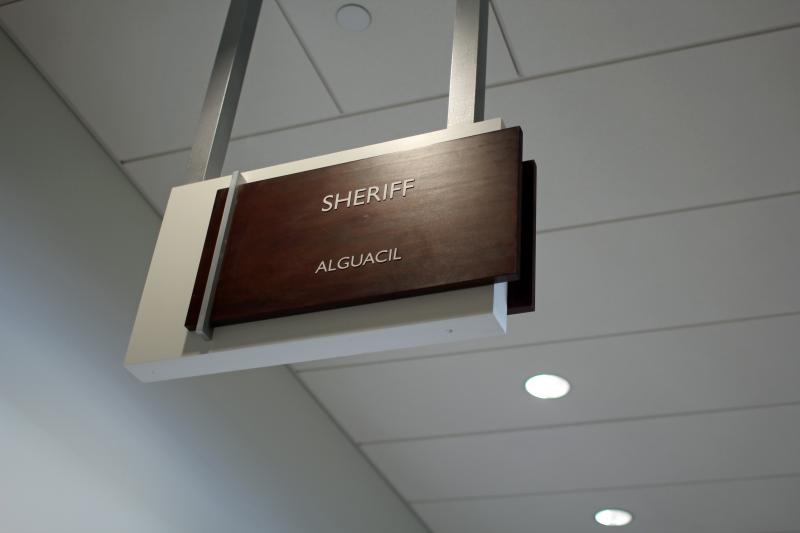 The Sheriff's Offics and other areas frequented by the public are located on the lower floors.