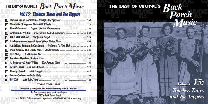 WUNC Front and Song Listing