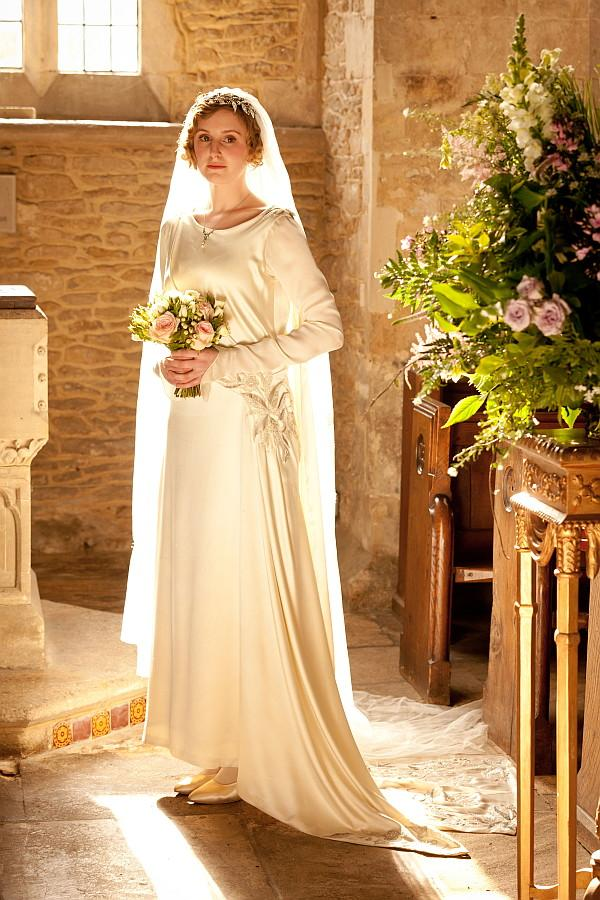 Edith Crawley in a wedding dress