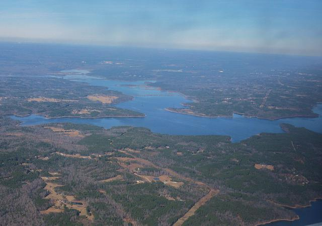 Falls Lake as seen from above Durham County