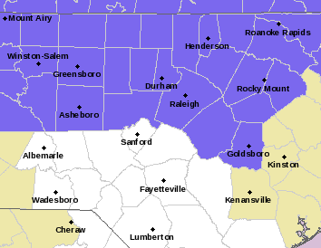 A Winter Weather Advisory is in effect until 10 a.m. Friday for the Triangle and Triad areas.