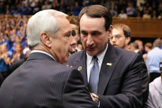 UNC Coach Roy Williams (left) and Duke Coach Mike Krzyzewski Feb. 9, 2011 in Durham