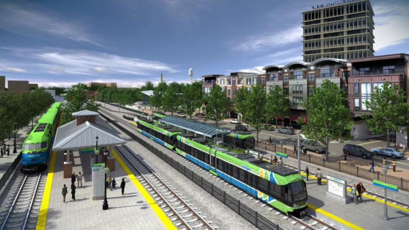 Light rail transit with Amtrak visualization of area near Durham Station Transportation Center.