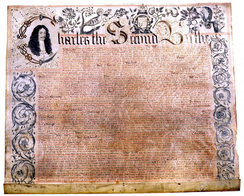 The first page of the Carolina Charter of 1663.