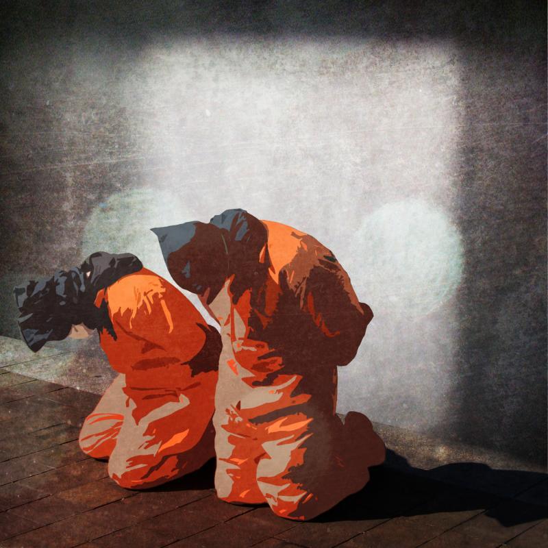 Illustration of two men at the Guantanamo Bay prison