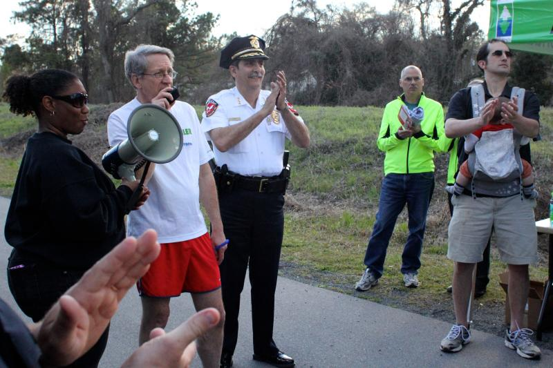 City Councilman Steve Schewel and Durham Police Chief Jose L. Lopez at the trail season kickoff on April 5.