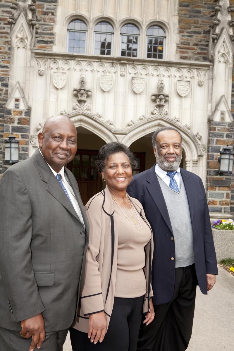Gene Kendall, Wilhelmina Reuben-Cooke and Nathaniel White Jr., the three surviving members of the first five undergraduate students to integrate Duke, attend their class reunion on April 21, 2012.