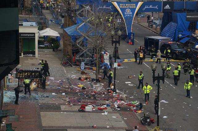 Aftermath of the Boston Marathon bombings.