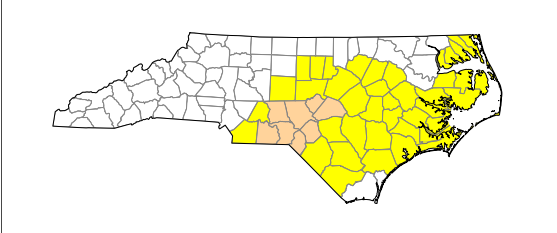State drought map. Yellow counties are abnormally dry, tan counties are moderately dry.