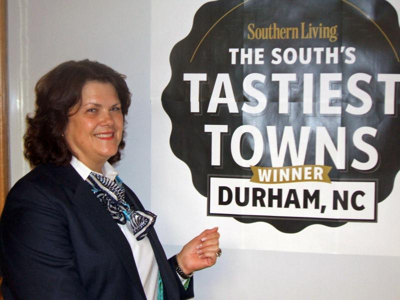 Shelly Green with Durham's award for the Tastiest Town in the South