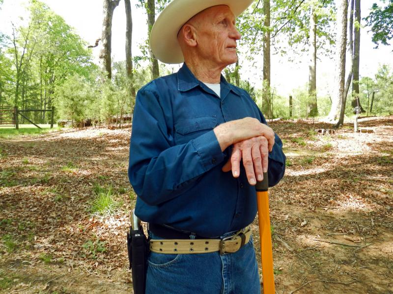 Ed Harris on his farm in Lee County.