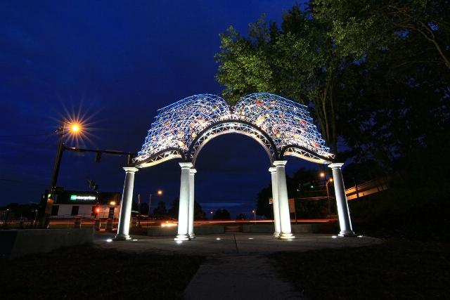 """Gateway of the Open Book"" by Brower Hatcher  (2011) is the first of four major pieces of public art on the Downtown Greenway."