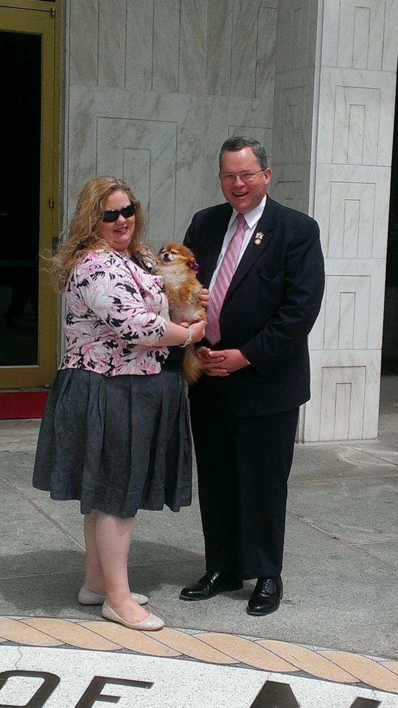 Representative and Mrs. Nathan Ramsey with Diva.