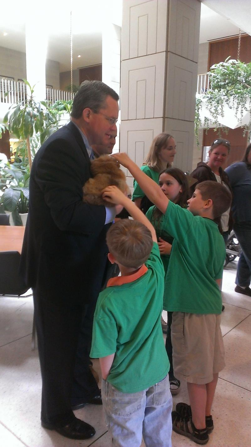 Representative Nathan Ramsey, Diva, and children.