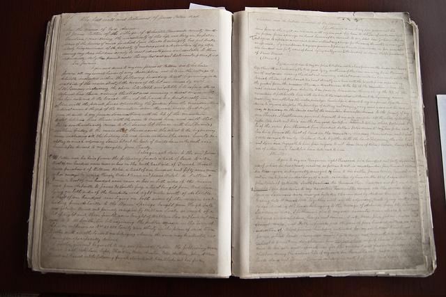 The original deed book of slave records from Buncombe County.