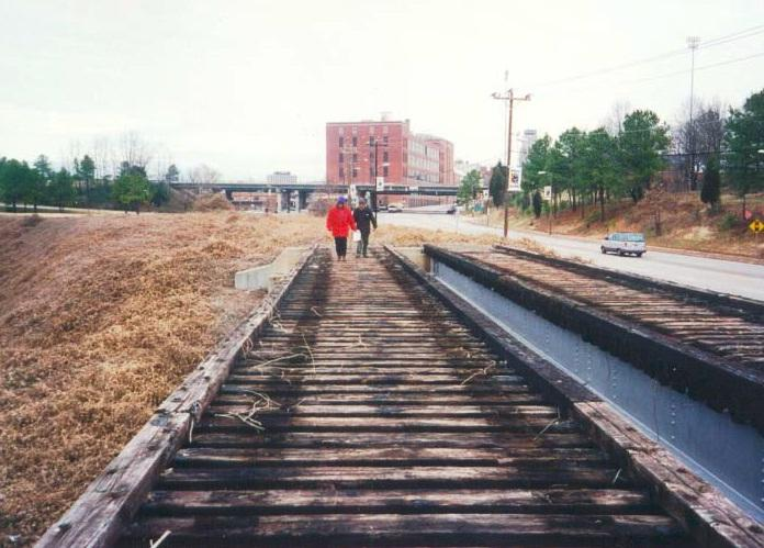 The abandoned railroad corridor that has become the American Tobacco Trail.
