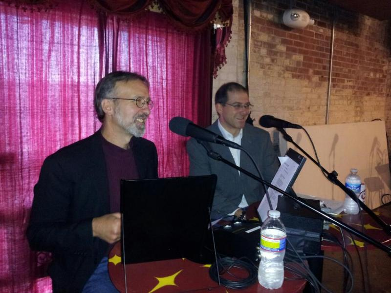 Frank Stasio & WUNC Greensboro reporter Jeff Tiberii at a Triad Stage State of Things broadcast.