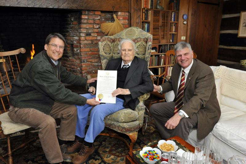 Governor McCrory presented Billy Graham with a proclamation declaring him 'North Carolina's Favorite Son.'