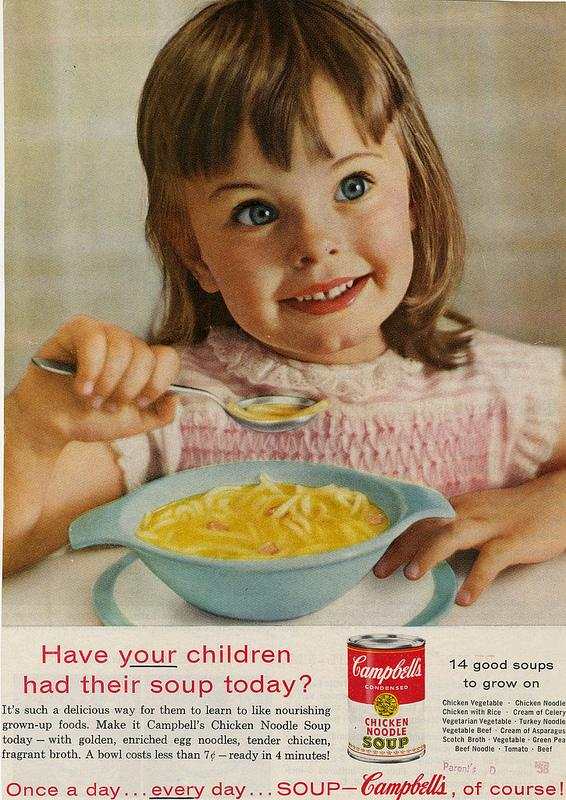 Episode 8 mentioned soup. This 1958 ad for Campbell's Soup is something the Mad Men characters might have seen.