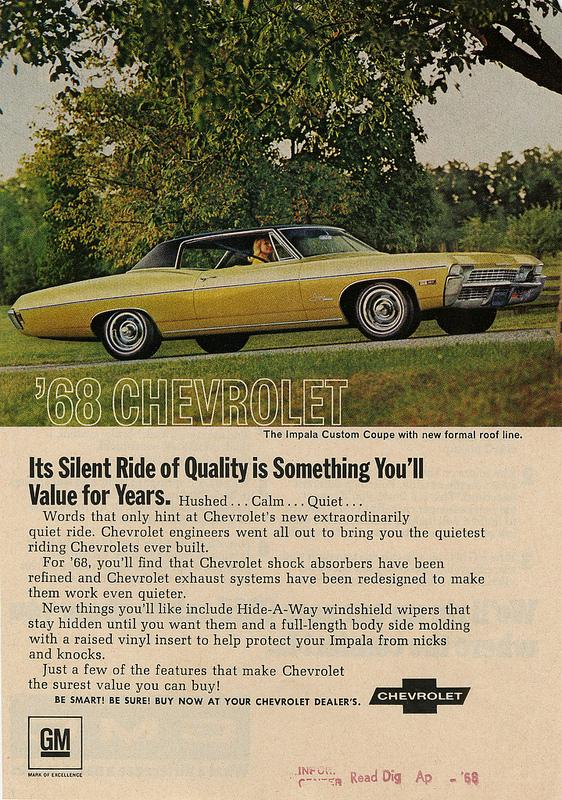 In episode 8, Don tries to come up with an ad for Chevy. This The is a real ad from1968 for the Chevy Impala.