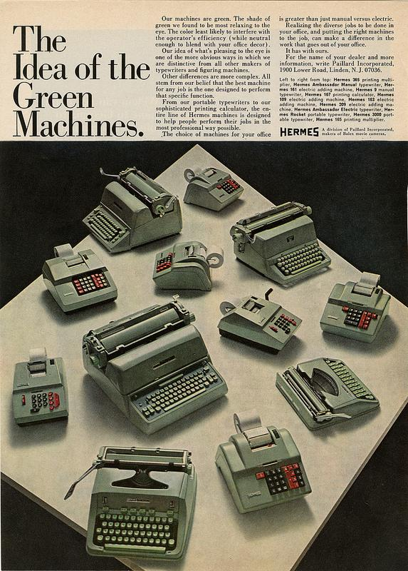 Hermes Green Machine ad for typewriters and other office machines.