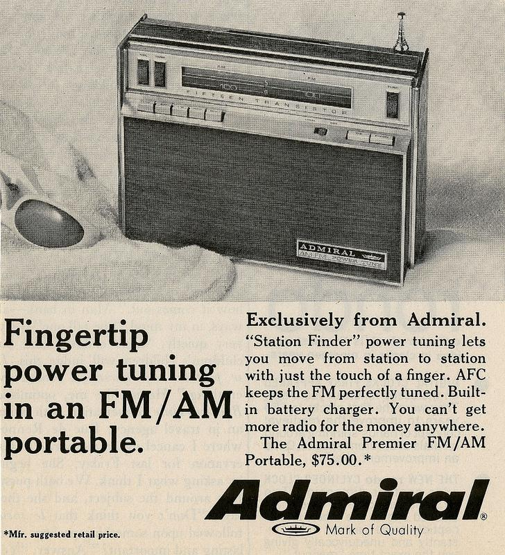 Episode 8 contained a reference to Admiral radios. Here's an ad for one from the Mad Men era.