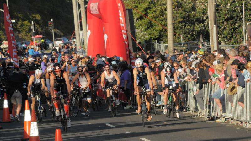 Bike racers in an Ironman 70.3 Triathlon event held earlier this year in Melbourne.