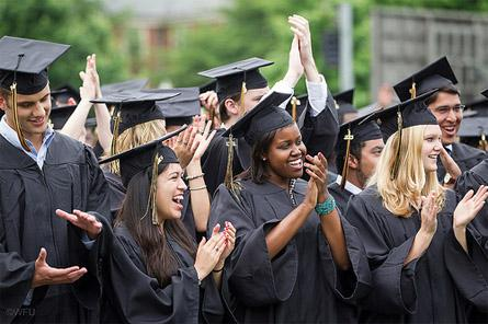 Wake Forest graduates at commencement.