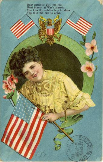 Patriotic Girl postcard