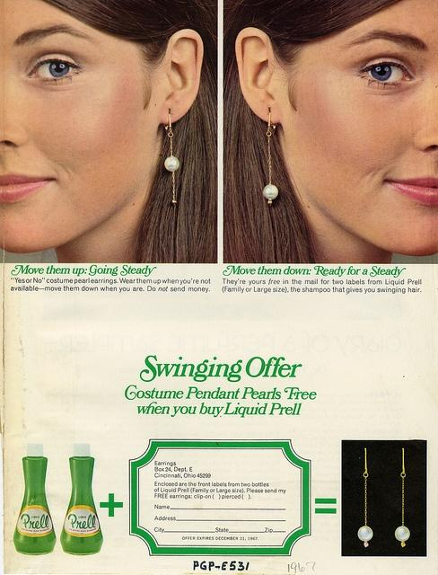 A Prell ad with an earrings offer, from 1967.
