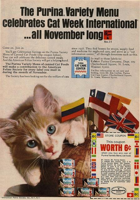 A Purina cat food ad from 1968.
