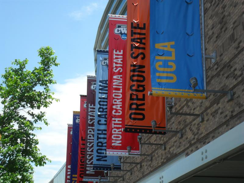 School banners at the 2013 College World Series