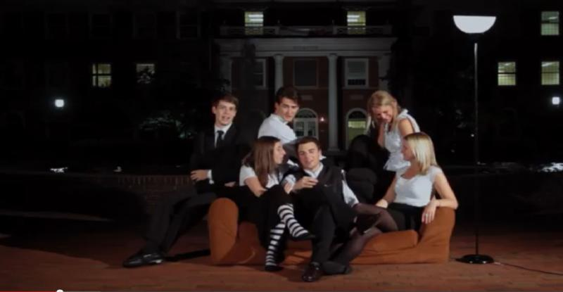 The group of Elon graduates filmed the 'Friends' intro in the University's Fonville Fountain.